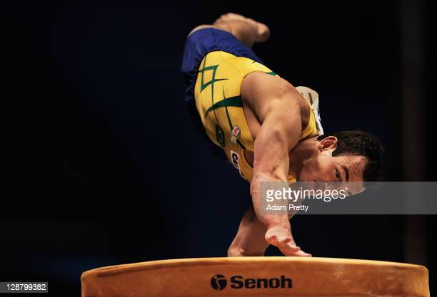 Francisco Carlos Barretto of Brazil competes on the Vault aparatus in the Men's qualification during day three of the Artistic Gymnastics World...