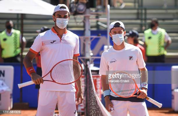 Francisco Cerundolo of Argentina and Diego Schwartzman of Argentina wearing a face masks pose for a photo before a Men's Singles Final match as part...