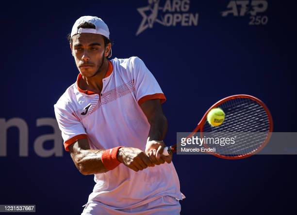 Francisco Cerundolo of Argentina hits a backhand during a match against Pablo Andujar of Spain as part of day 5 of ATP Buenos Aires Argentina Open...