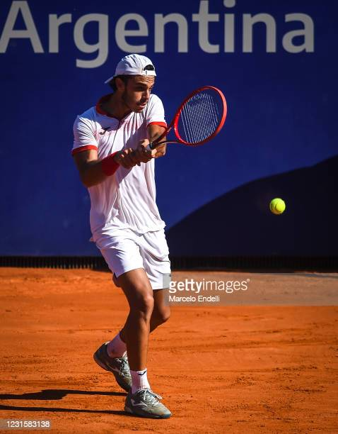 Francisco Cerundolo of Argentina hits a backhand during Men's Singles Final match against Diego Schwartzman of Argentina as part of day 7 of ATP...