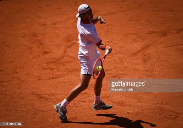 Francisco Cerundolo of Argentina hits a forehand during a match against Albert Ramos-Viñolas of Spain with a part of first semifinal during day 6 of...