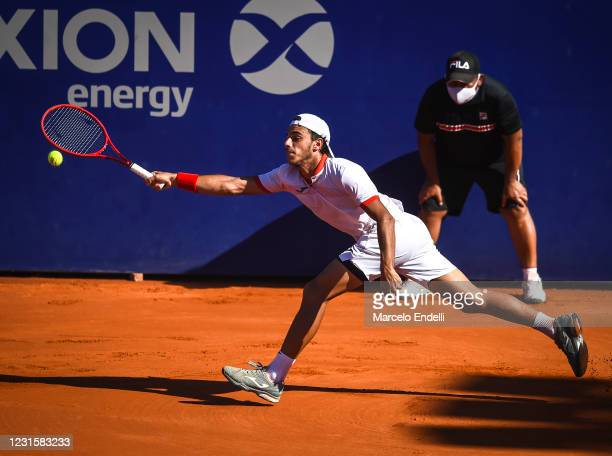 Francisco Cerundolo of Argentina hits a forehand during Men's Singles Final match against Diego Schwartzman of Argentina as part of day 7 of ATP...