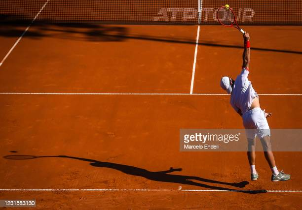 Francisco Cerundolo of Argentina serves during Men's Singles Final match against Diego Schwartzman of Argentina as part of day 7 of ATP Buenos Aires...
