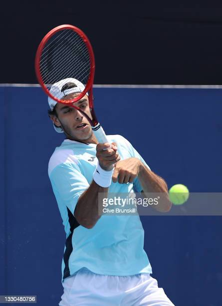 Francisco Cerundolo of Team Argentina plays a forehand during his Men's Singles First Round match against Liam Broady of Team Great Britain on day...