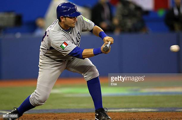 Francisco Cervelli of Italy hits a sacrifice bunt during the 2009 World Baseball Classic Pool C game on March 9 2009 at the Rogers Centre in Toronto...