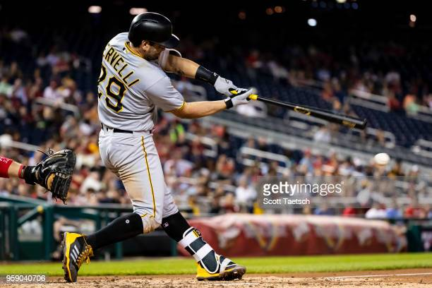 Francisco Cervelli of the Pittsburgh Pirates at bat during the fifth inning against the Washington Nationals at Nationals Park on May 1 2018 in...