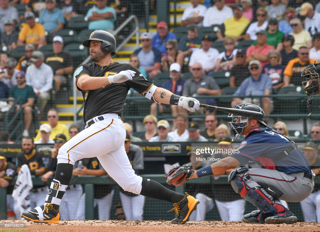 Francisco Cervelli #29 of the Pittsburgh Pirates bats in the first inning during the spring training game between the Pittsburgh Pirates and the Minnesota Twins at LECOM Field on March 19, 2018 in Bradenton, Florida.