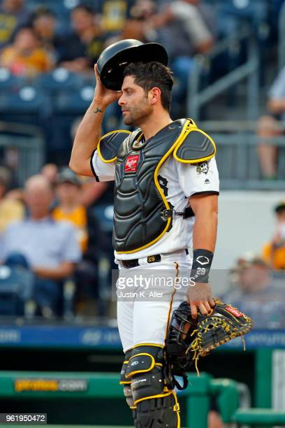 Francisco Cervelli of the Pittsburgh Pirates in action against the San Diego Padres at PNC Park on May 17 2018 in Pittsburgh Pennsylvania Francisco...