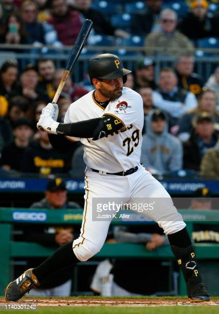 Francisco Cervelli of the Pittsburgh Pirates in action against the St Louis Cardinals at PNC Park on April 3 2019 in Pittsburgh Pennsylvania