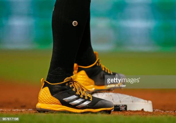 Francisco Cervelli of the Pittsburgh Pirates is seen wearing Adidas baseball cleats and Stance baseball socks against the St Louis Cardinals at PNC...