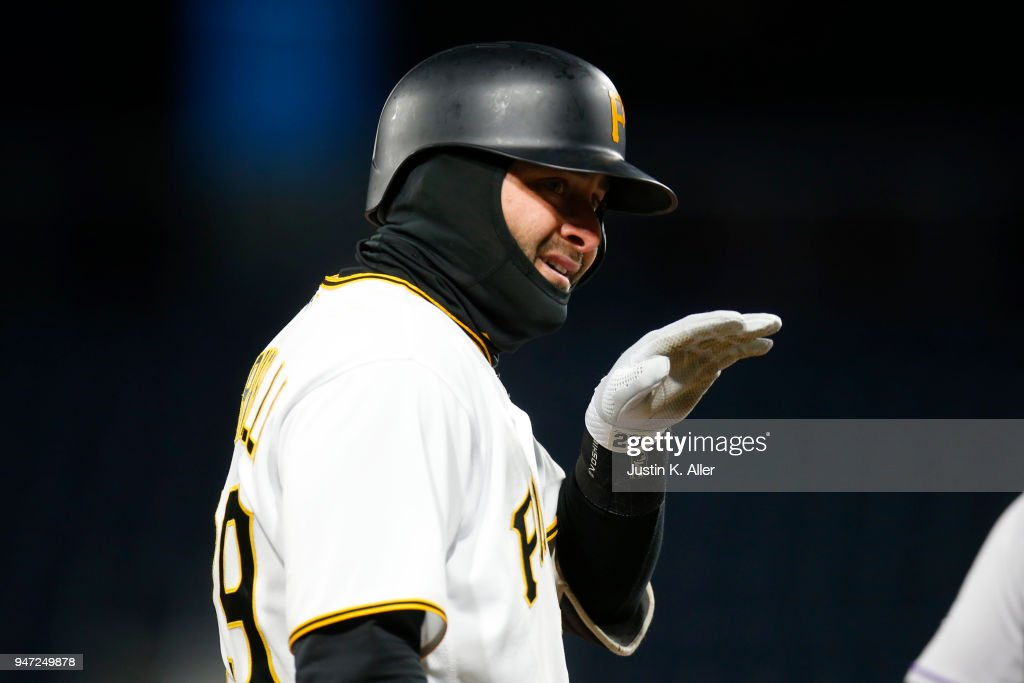 Francisco Cervelli #29 of the Pittsburgh Pirates reacts after hitting a triple in the fifth inning against the Colorado Rockies at PNC Park on April 16, 2018 in Pittsburgh, Pennsylvania.