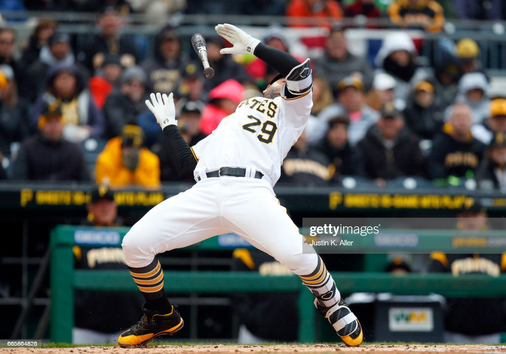 Francisco Cervelli #29 of the Pittsburgh Pirates reacts to an inside pitch in the fourth inning against the Atlanta Braves on Opening Day at PNC Park on April 7, 2017 in Pittsburgh, Pennsylvania.