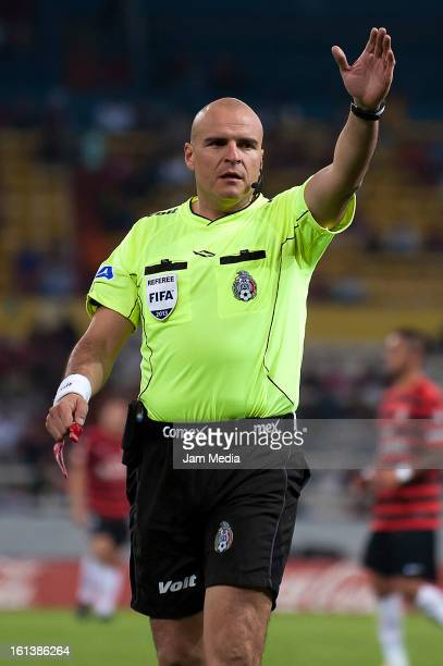 Francisco Chacon referee during the match as part of the Clausura 2013 Liga MX at Estadio Jalisco on February 09 2013 in Guadalajara Mexico