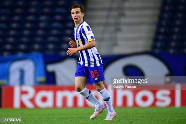 Francisco Conceicao of FC Porto in action during the Liga NOS match between FC Porto and SC Farense at Estadio do Dragao on May 10, 2021 in Porto,...