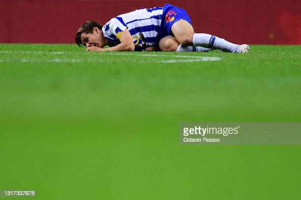 Francisco Conceicao of FC Porto reacts during the Liga NOS match between FC Porto and SC Farense at Estadio do Dragao on May 10, 2021 in Porto,...