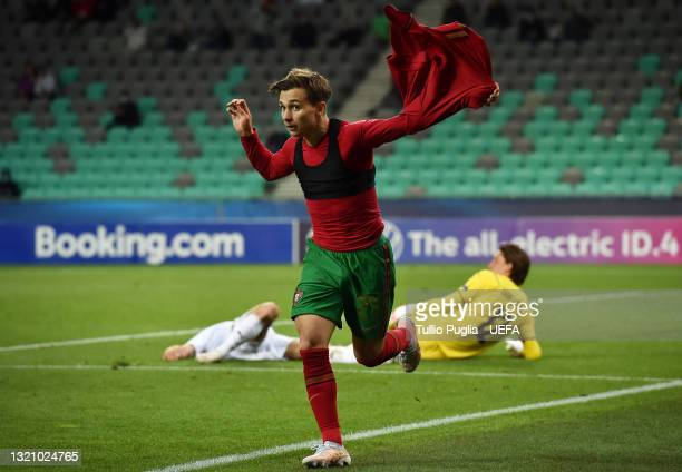 Francisco Conceicao of Portugal celebrates after scoring their side's fifth goal during the 2021 UEFA European Under-21 Championship Quarter-finals...
