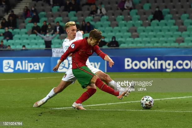 Francisco Conceicao of Portugal scores their side's fifth goal during the 2021 UEFA European Under-21 Championship Quarter-finals match between...