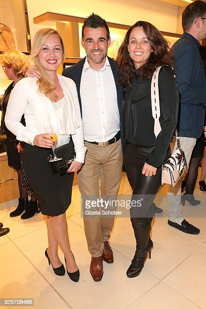 Francisco Copado and his sister Esther Copado wife of Hasan Salihamidzic and his fiance Cristina during the TOD'S 'The art of leather' party on April...