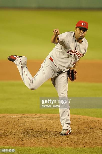 Francisco Cordero of the Cincinnat Reds pitches during a baseball game against the Washington Nationals on June 9, 2009 at Nationals Park in...