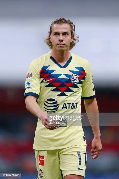 Francisco Cordova of America looks on during the 6th round match between America and Atlas as part of the Torneo Clausura 2020 Liga MX at Azteca...