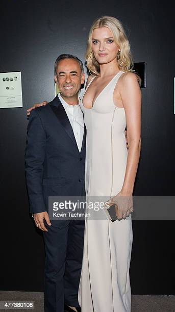 Francisco Costa and Lily Donaldson attend the 2015 amfAR Inspiration Gala New York at Spring Studios on June 16 2015 in New York City