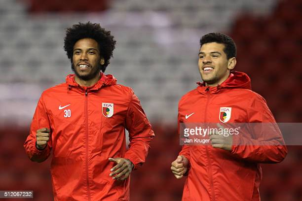 Francisco da Silva Caiuby and Shawn Parker of FC Augsburg in action during the FC Augsburg training session ahead of their UEFA Europa League round...