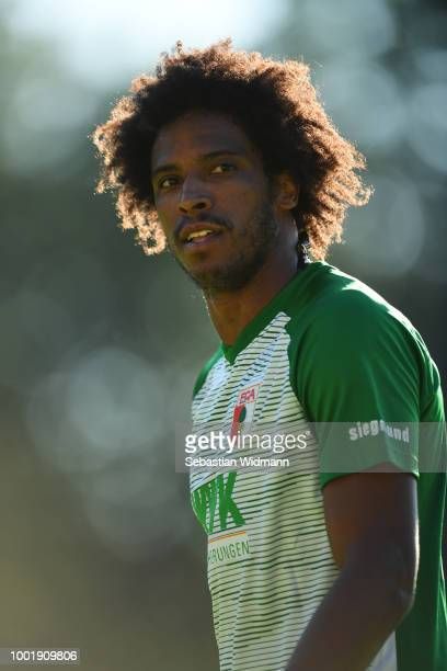 Francisco da Silva Caiuby of Augsburg looks on during the preseason friendly match between SC Olching and FC Augsburg on July 19 2018 in Olching...