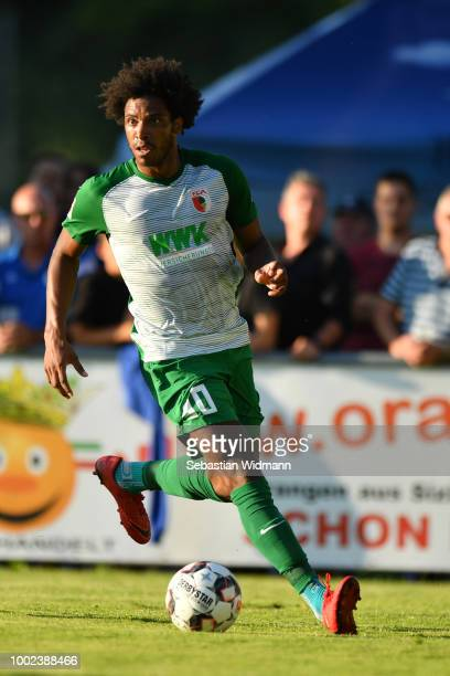 Francisco da Silva Caiuby of Augsburg plays the ball during the preseason friendly match between SC Olching and FC Augsburg on July 19 2018 in...