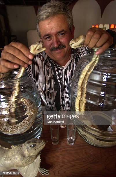 Francisco Dario lifts a diamondback rattlesnake from each jug of tequila con vibora the Spanish name for his rattlesnake tequila He's the manager of...