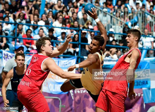 Francisco Daudinot plays a shoot during day 7 of Buenos Aires 2018 Youth Olympic Games at Green Park on October 13 2018 in Buenos Aires Argentina