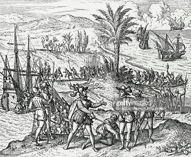 Francisco de Bobadilla arriving as Governor and arresting Christopher Columbus in Hispaniola engraving from Americae Partes Frankfurt 1590 Antilles...