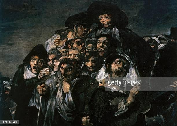 Francisco de Goya Spanish romantic painter A Pilgrimage to San Isidro 18211823 Detail Men singing with a guitarrist Prado Museum Madrid Spain