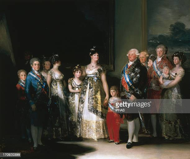 Francisco de Goya Spanish romantic painter Charles IV of Spain and His Family Oil on canvas 1800 The barely visible man in the background shadows at...