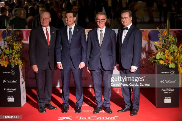 Francisco de la Torre Prados Juan Manuel Moreno Bonilla Jose Guirao and Juan Antonio Vigar attend opening day of the Malaga Film Festival 2019 on...