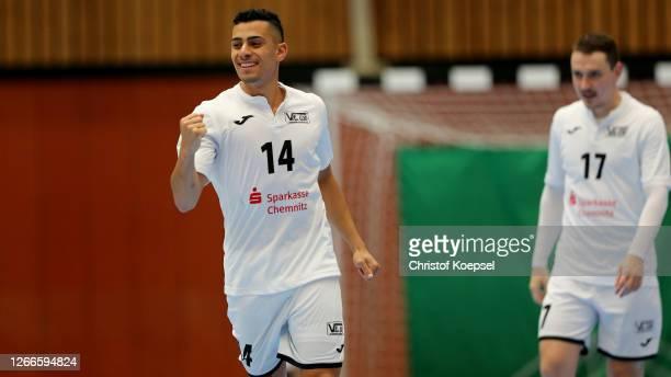 Francisco de Olivei of SV Hohenstein-Ernstthal celebrates the forth goal during the German Futsal Championship Final match between Jahn Regensburg...