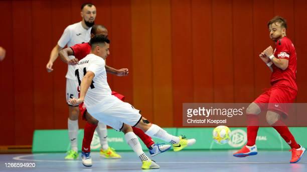 Francisco de Olivei of SV Hohenstein-Ernstthal scores the forth goal during the German Futsal Championship Final match between Jahn Regensburg and...