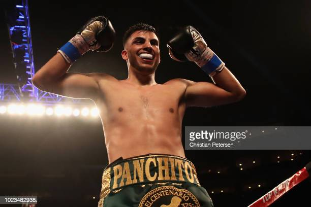 Francisco De Vaca celebrates his victory over Jesus Serrano of Mexico during the featherweight bout at Gila River Arena on August 25 2018 in Glendale...