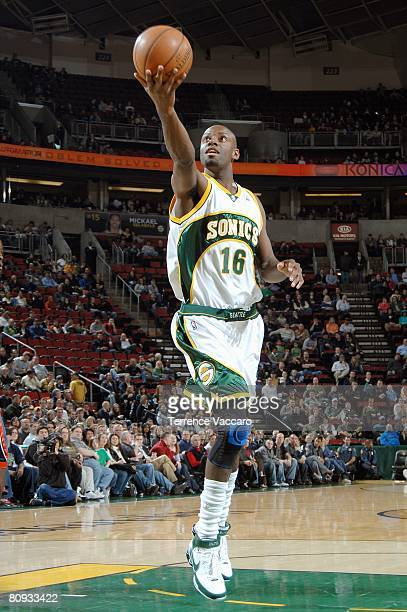 Francisco Elson of the Seattle SuperSonics makes a layup against the Charlotte Bobcats on March 28 2008 at the Key Arena in Seattle Washington The...