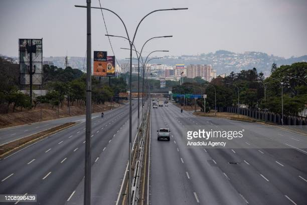 Francisco Fajardo highway is seen empty as a preventive measure against the new type of coronavirus pandemic in Caracas Venezuela on April 02 2020
