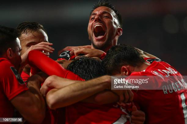 Francisco Ferreira of SL Benfica celebrates scoring SL Benfica sixth goal with his team mates during the Liga NOS match between SL Benfica and CD...