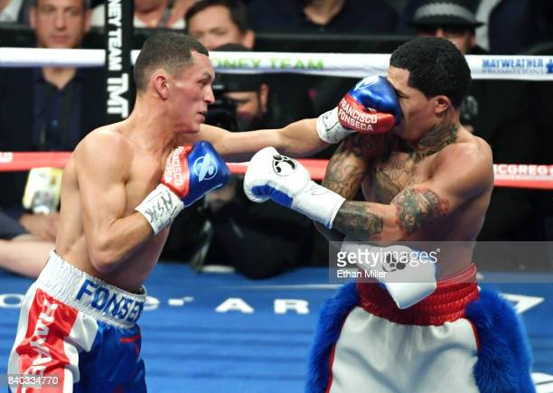 Francisco Fonseca hits Gervonta Davis with a left in the fifth round of their junior lightweight bout at T-Mobile Arena on August 26, 2017 in Las...