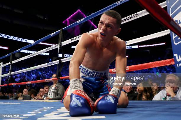 Francisco Fonseca kneels on the mat after an eighth round knockout by Gervonta Davis in their junior lightweight bout on August 26, 2017 at T-Mobile...