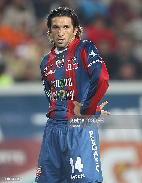 Francisco Fonseca of Atlante in action during a game as part of the Torneo de Clausura 2012 in a match between Pachuca and Atlante at Hidalgo Stadium...