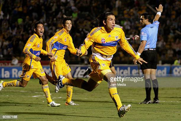 Francisco Fonseca of Tigres celebrates scored goal during their match as part of the Opening 2009 tournament of the Mexican Football League at the...