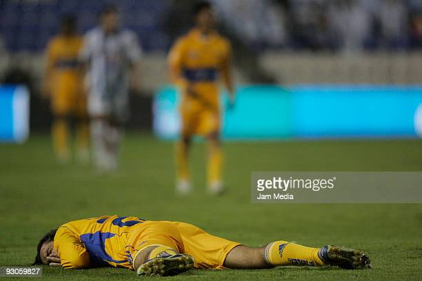 Francisco Fonseca of Tigres reacts during the match against Pachuca in the 2009 Opening tournament at the Hidalgo Stadium on November 14, 2009 in...