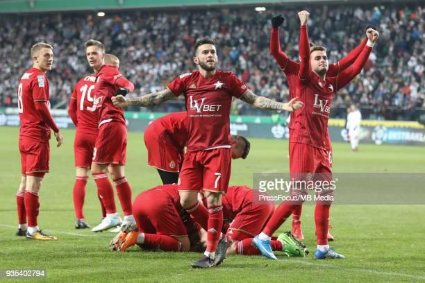 Francisco Fran Velez of Wisla Krakow celebrates scoring the goal with team mates during Lotto Ekstraklasa match between Legia Warsaw and Wisla Cracow...