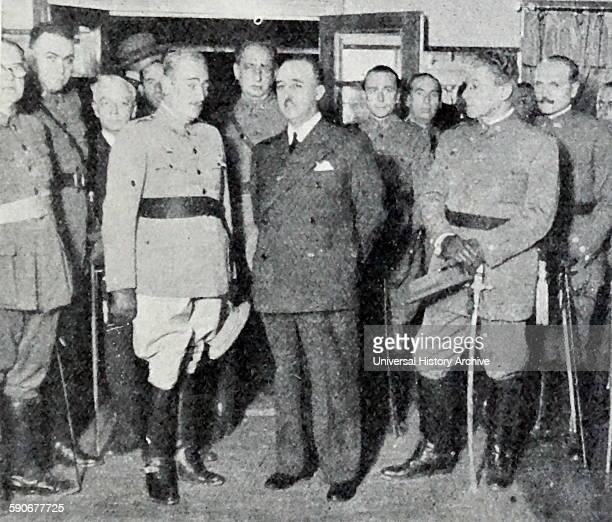 Francisco Franco 1892 – 1975 dictator of Spain meets in Las Palmas in the Spanish Civil War