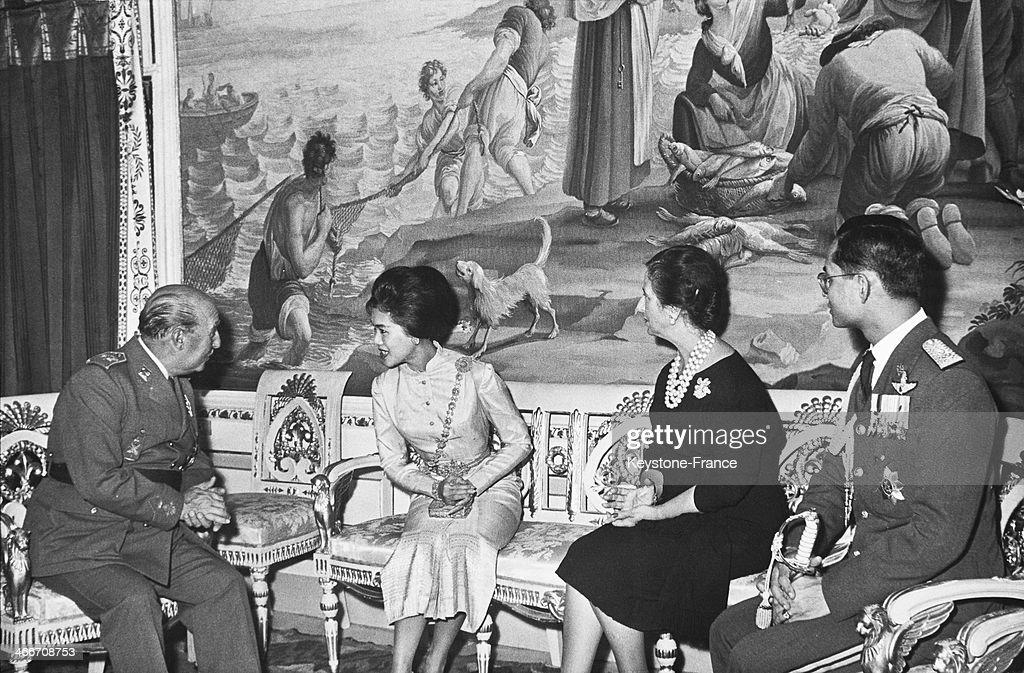 King Bhumibol Adulyadej Of Thailand With Francisco Franco In Spain : News Photo