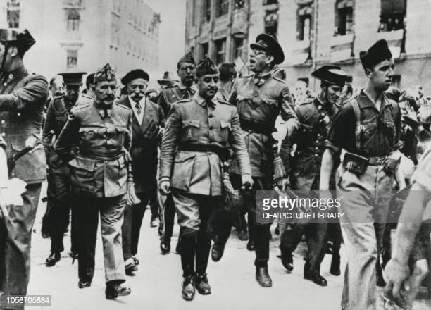 Francisco Franco entering Burgos, October 1 Spain, Spanish Civil War, 20th century.