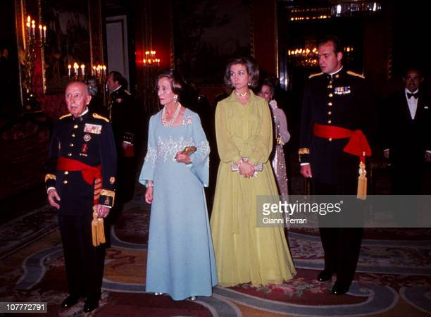 Francisco Franco his wife Carmen Polo the Princes Juan Carlos of Borbon and Sofia of Greece at a gala dinner in honor of US President Gerald Ford...